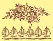 Mhendi indio decorativo ornamental del arabesque de Paisley del modelo del diseño del garabato de la flor del mehndi del marrón d stock de ilustración
