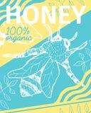 Miód Kreślił plakat z pszczołą royalty ilustracja