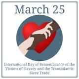 Międzynarodowy dzień wspominanie dla ofiar niewolnictwo i Transatlantycki handel niewolnikami Marzec 25 Marcowy kalendarz wektor ilustracja wektor