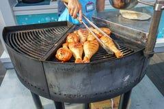 Mięso gotuje piec na grillu Grill na węglach zdjęcie stock