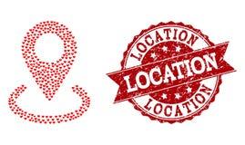 Miłość Kierowy kolaż lokacji ikona i Grunge Watermark ilustracja wektor