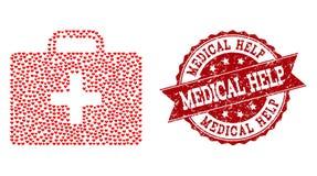 Miłość Kierowy kolaż Medyczna zestaw skrzynki ikona i pieczątka ilustracja wektor