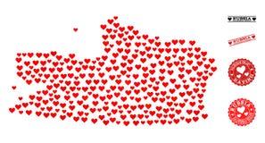 Miłość kolażu mapa Kalinigrad Grunge i regionu znaczki dla walentynek ilustracja wektor