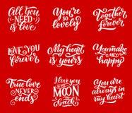 Miłość przytacza wektorową literowanie kaligrafię royalty ilustracja