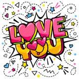 Miłość ty formułujesz bąbel Wiadomość w wystrzał sztuki komiczki stylu ilustracji