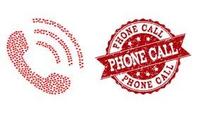Miłości Kierowa mozaika rozmowy telefoniczej ikona i Grunge foka royalty ilustracja