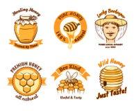Miód etykietki i beekeeping logo ilustracja wektor