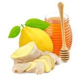 Miód, imbir i cytryna odizolowywający na białym tle, obraz stock