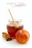 Miód w szklanym słoju i jabłku Zdjęcie Royalty Free