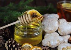 Miód z miodownikami i herbatą, jedlin gałąź, konusuje Zdjęcia Royalty Free