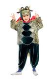 Miúdo alegre em um traje do dragão Fotos de Stock Royalty Free