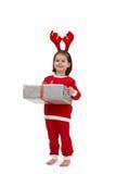 Miúdo bonito no traje de Santa Imagens de Stock