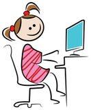 Miúdo com desktop Fotos de Stock Royalty Free