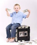 Miúdo com dinheiro Fotografia de Stock