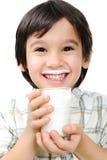 Miúdo com leite Imagem de Stock