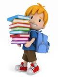 Miúdo com livros ilustração do vetor