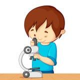 Miúdo com microscópio ilustração stock