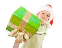 Miúdo com presente do Natal Foto de Stock