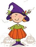 Miúdo da mágica de Halloween Fotos de Stock