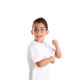 Miúdo do lerdo com vidros e expressão feliz Imagem de Stock