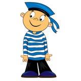Miúdo do marinheiro dos desenhos animados em camisa listrada. imagem Imagem de Stock Royalty Free