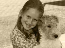 Miúdo e animal de estimação Imagem de Stock