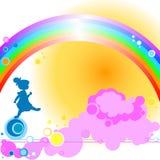 Miúdo e arco-íris Foto de Stock Royalty Free