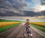 Miúdo e bicicleta Foto de Stock