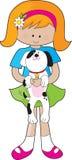Miúdo e filhote de cachorro ilustração do vetor