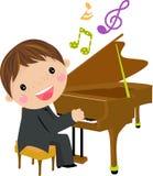 Miúdo e piano ilustração royalty free