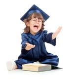 Miúdo engraçado emocional como o academician com livro imagem de stock