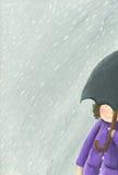 Miúdo na chuva Imagem de Stock Royalty Free