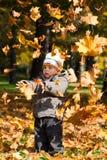 Miúdo na madeira do outono Fotografia de Stock Royalty Free