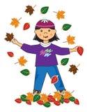Miúdo na menina do asian das folhas ilustração stock
