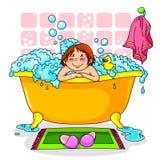 Miúdo no banho ilustração royalty free