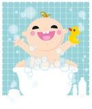 Miúdo no banho ilustração stock
