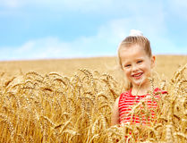 Miúdo no campo de trigo. Imagens de Stock