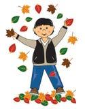 Miúdo no menino do asian das folhas ilustração royalty free