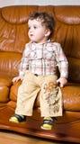 Miúdo pequeno com cabelo curly em um sofá marrom de couro Imagens de Stock