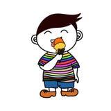 Miúdo que come o gelado Foto de Stock