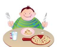 Miúdo que come a pizza Foto de Stock