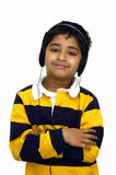 Miúdo que escuta a música Foto de Stock Royalty Free