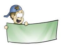 Miúdo que indica uma bandeira Imagem de Stock Royalty Free