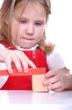 Miúdo que joga com tijolos Fotos de Stock