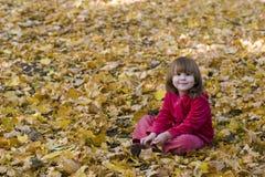Miúdo que senta-se nas folhas caídas Imagem de Stock Royalty Free