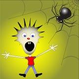 Miúdo receoso da aranha ilustração do vetor