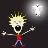Miúdo receoso do fantasma ilustração do vetor