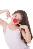 Miúdo vermelho do dia do nariz Fotografia de Stock Royalty Free