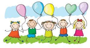 Miúdos com balões ilustração royalty free