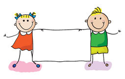 Miúdos com bandeira ilustração royalty free